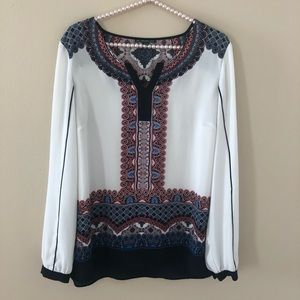 Adrianna Papell  Printed Long Sleeve Blouse